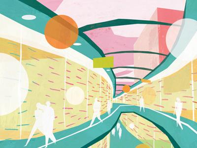 Plaza Interior / Forbes Magazine / Hungary painting digital illustration editorial