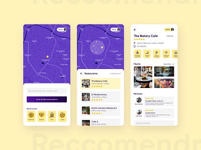 Reccomendr figma dualtone reccomendation restaurant map royal yellow practice ui design orange purple