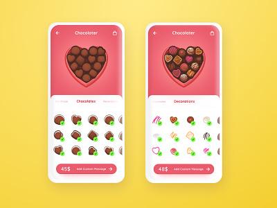Cholocater cart table customize order chocolate mockup cartoon uichallenge dailyui figma