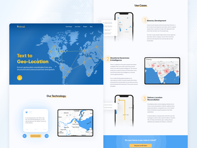 Intrail landingpage website map geolocation blue design illustration figma