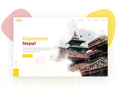 Experience Nepal Landing Page landing page design masked cloud nepal red yellow land figma dailyui