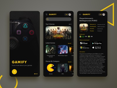 Gamify - Game Information Application dailyui figma rounded corners yellow dark theme dark ui application information game
