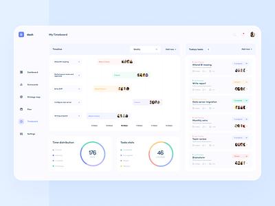 Company management platform - dashboard clean minimal timeline task statistics inteface data graph chart stats ux dashboard web design ui