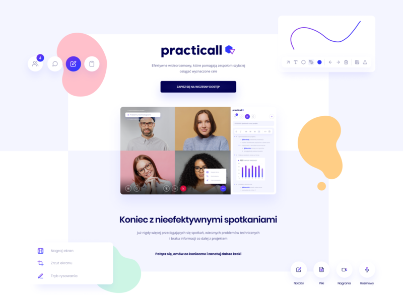 Practicall - videoconference app design videochat conference call video interface webapp agenda notes application landing videocall clean app ux design web website ui