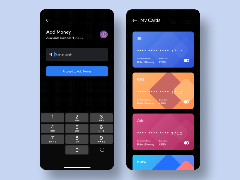 Credit Card dark mode minimal dark ui wallet app wallet money transfer add money payment app payment credit card payment debit card credit card cards ios ui design app design ui app ui
