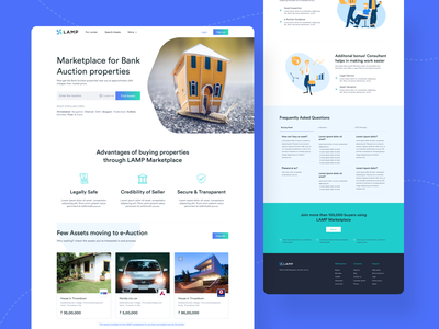 Website for Bank Auction Properties footer marketplace hero section faq cta features auction properties banking ui  ux illustration website design web design website auctions ui design landing page ui
