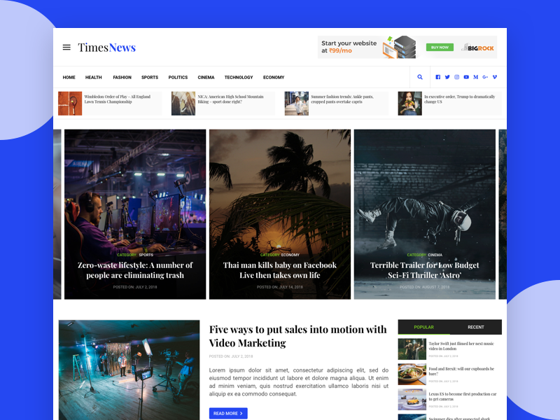 News Website uidesign webdesign magazine news website