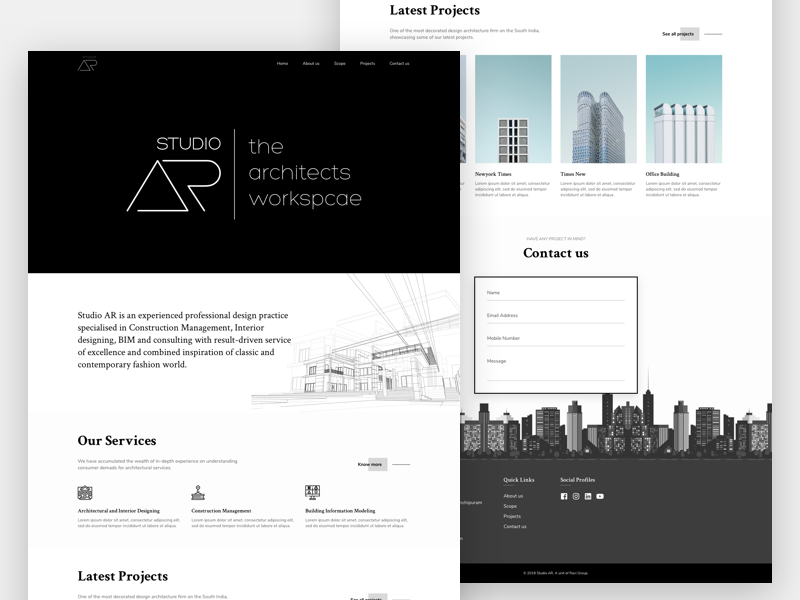 Studio AR - The architects' workspace construction design studio interior designer architecture website ux ui ui design website design website
