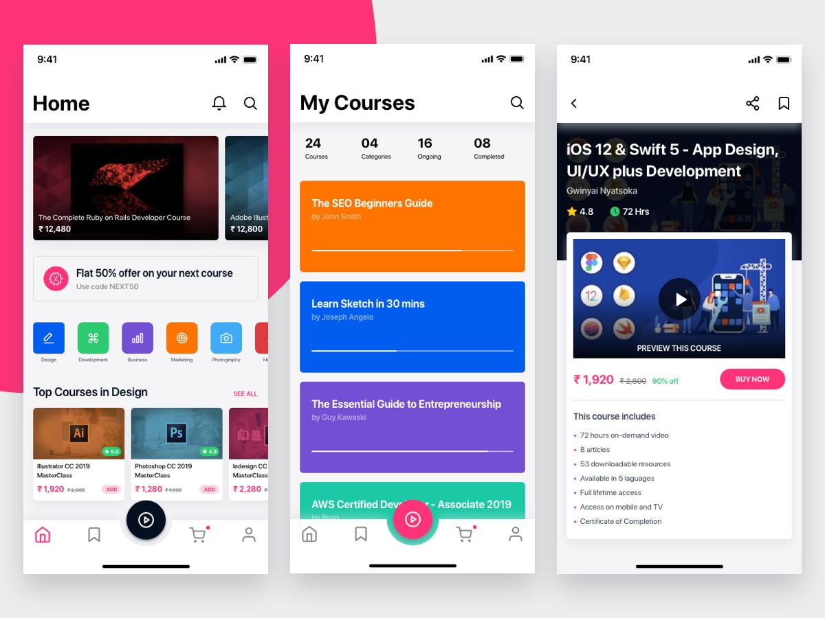 e-Learning iOS App by Aravind Little Jack on Dribbble