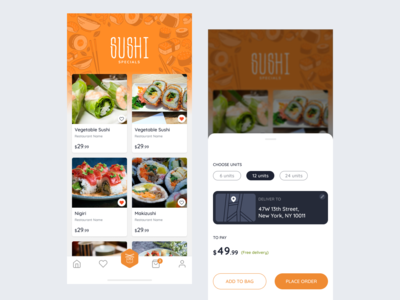 Sushi Restaurant App - Made with Figma