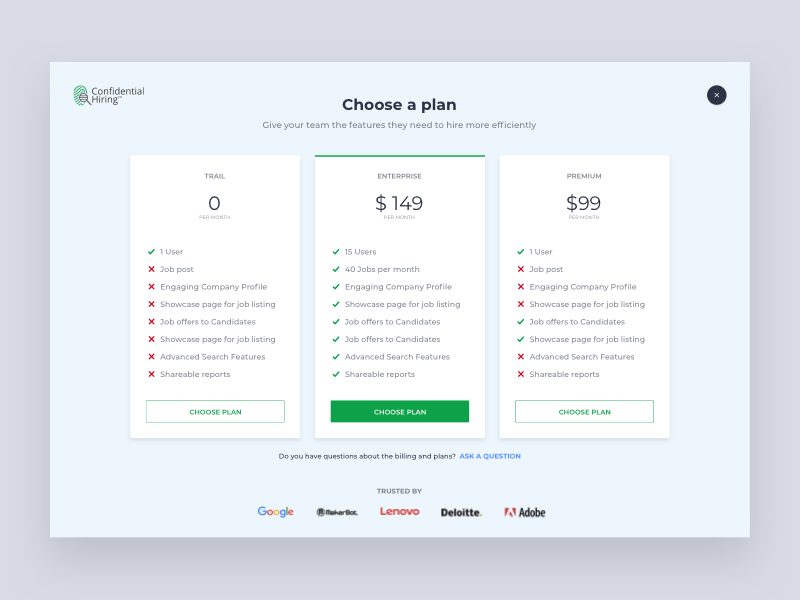 Pricing - Job Portal job website. web ui employer plan pricing job portal webdesign website design ui design ui web design website