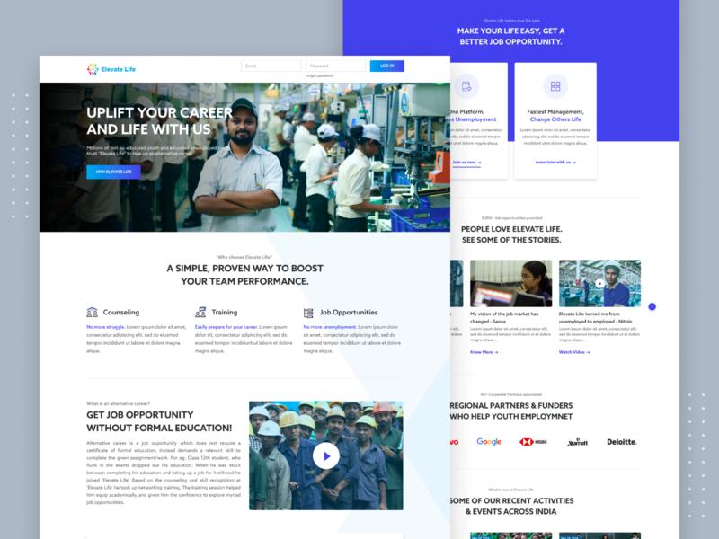 Elevate Life Landing page re-design web redesign job portal career job redesign ui landing page web design website design ui design website