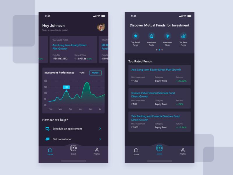 Mutual Fund Investment App funding investing ios mobile app app ui app design mutual fund investment ui ui design