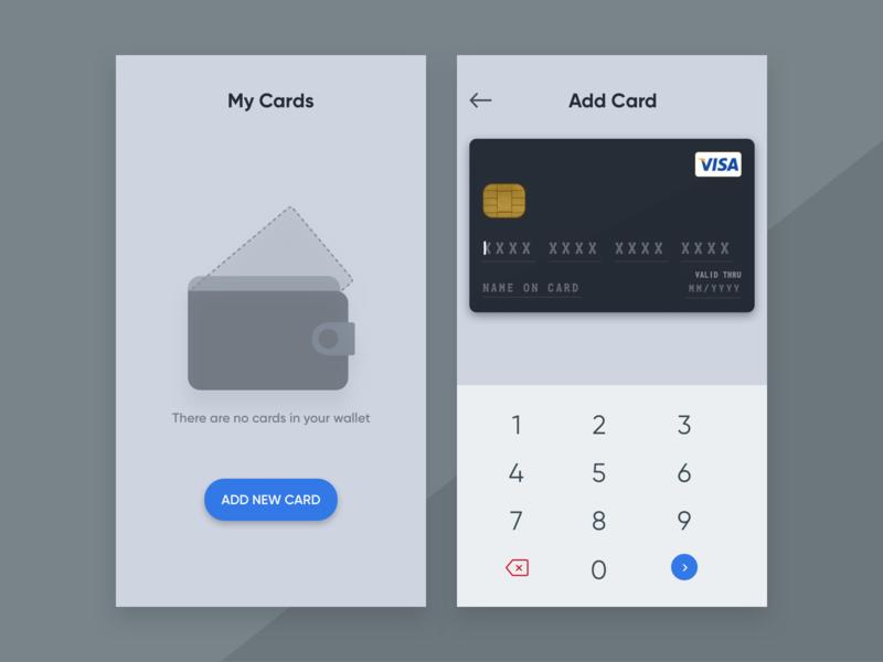 Add Card To Wallet ui design ui app design debit card credit card wallet add card finance money money app app ui wallet app app ui design ios app ios