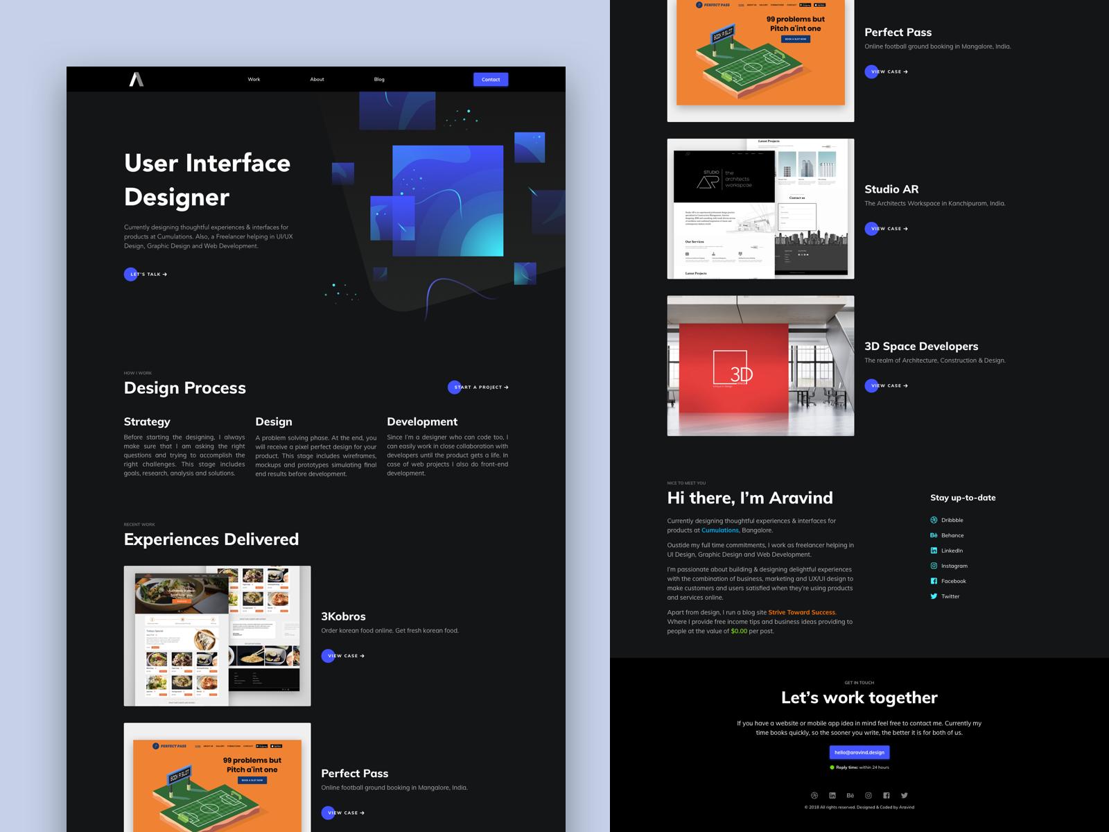 Personal protfolio website   dark theme   v1.0