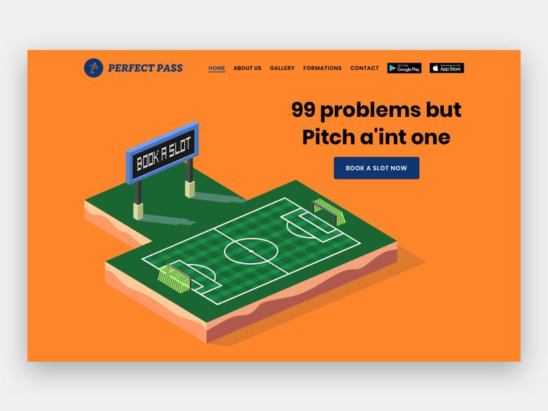 Perfect Pass Website - Hero Section website design soccer ground football hero section hero landing page website web design ui design