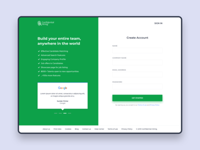 Employer Sign up screen