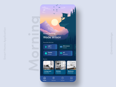 Smart Home App smarthome smart tv night afternoon evening morning time of day scenes home control home automation smart appliances smart home app smart light smart home ios app ui ui app design ui design