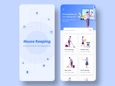 On Demand Maid Booking App vessels washing toilet cleaning illustration minimalistic service app house keeping services online maid booking on demand booking floor wash clothes wash house cleaning house keeping on demand app ui ios app design ui design