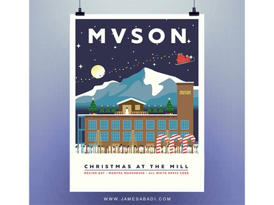 MVSON - Christmas at the Mill snow adobe photoshop adobe illustrator graphic design flyer design christmas illustrator illustration