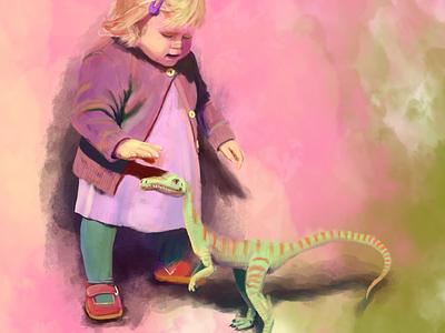 Her Pet speedpaint timelapse photoshop scifi grayscale storytelling artwork colorful child dinosaur dino digital painting concept illustration children digital art digital 2d