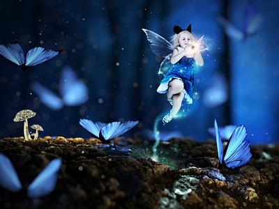 00101010 creation blue butterflies photo editing photo manipulation magic forest enchanted digital art digital 2d composite children