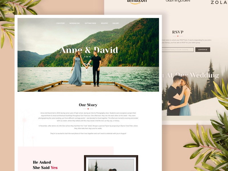 Wedding Website Design modern elegant marriage groom bride ui webdesign wedding design wedding