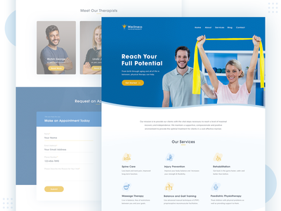 Web design for a Physiotherapy Clinic fitness health physiotherapist physiotherapy web design website