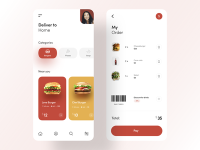 Food delivery app cart iphonex ios order delivery app food