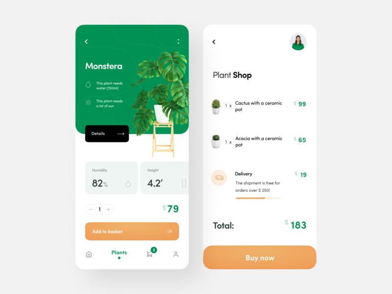 Plants concepts plant basket shop iphonex minimalism clean ui concept mobile app ios