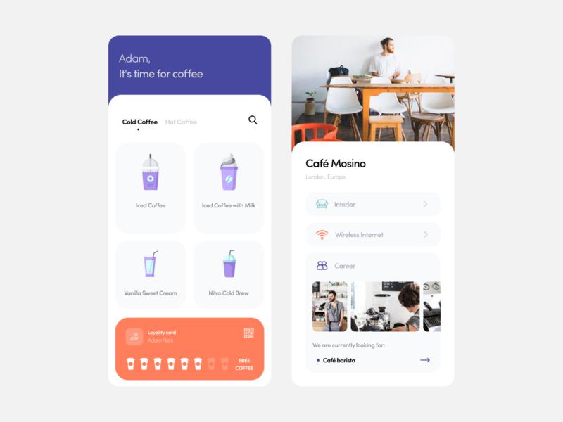 Cafe App concept clean ui shop minimalism ios iphonex app