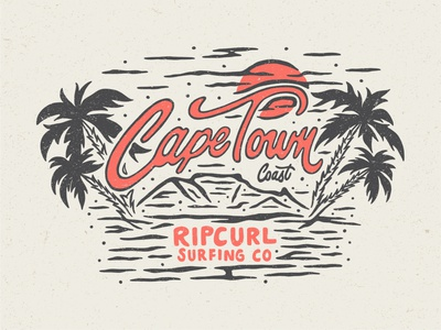 Cape Town Coast south africa surfing co tee graphic fashion rip curl ipad pro art texture design illustration lettering typography