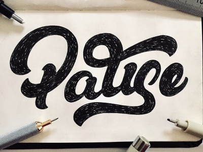 Pause type design hand lettering micron rotring moleskin wip sketch calligraphy typography lettering