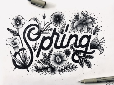Spring Illustration illustration texture moleskin sketch wip micron rotring calligraphy hand lettering type design lettering typography