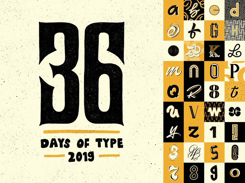 36 Days Of Type 2019 Full Collection 36daysoftype branding colours grid wip apple pencil sketch ipad pro art ipad pro procreate texture design illustration calligraphy hand lettering type design lettering typography