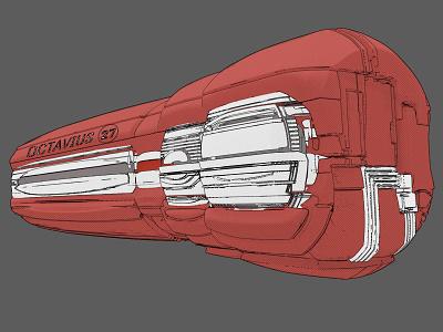 OCTAVIUS-27 zbrush pixlogic keyshot comic art 3d lineart