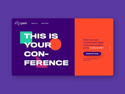Reach 2020 Landing Page serif geometric shapes digital conference branding conference landing page