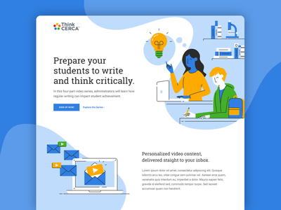 Spark Critical Thinking Landing Page flat illustrator web design learning students people webinar landing page illustration