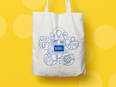 ThinkCERCA Tote Bag lines illustrator graphic reading lightbulb illustration education tote bag