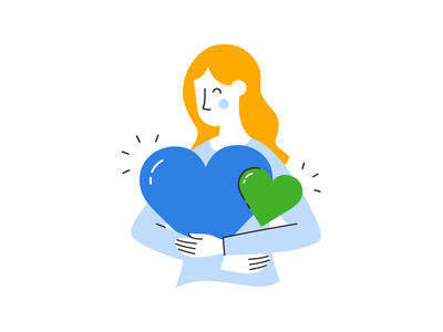 Hug happy hug love heart woman lines illustrator flat illustration
