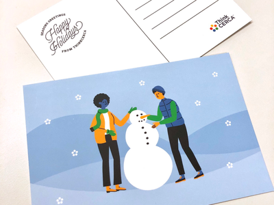 ThinkCERCA Holiday Postcard illustrator illustration hills gloves snow holiday snowman postcard
