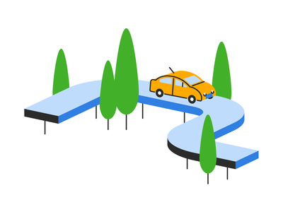 Driving illustrator illustration flat highway dimension drive trees road car