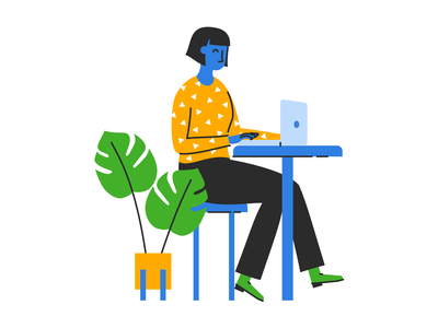 Plant Lady flat illustration plant lady tree palm laptop working woman plant desk