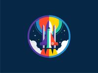 G2 Rocketship sun explore rockets icon badge clouds fly illustration space ship rocketship rocket