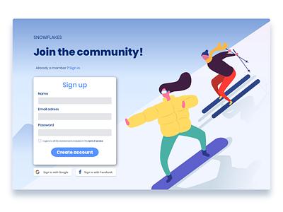 Sign up form ui illustration design signup form