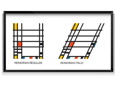Mondrian Italic art poster fun