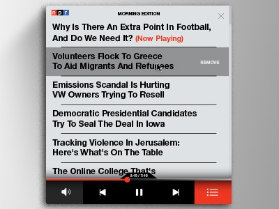 NPR Mini Player - Playlist news music player buttons ui