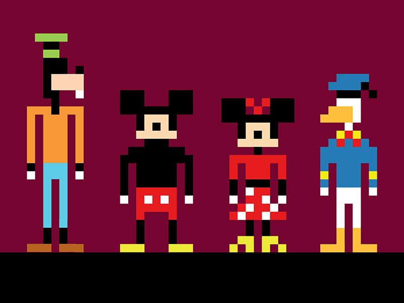 mice, duck, and dog pixel nintendo 8-bit dog mouse duck donald goofy minnie mickey disney
