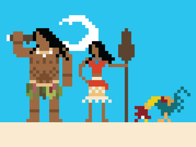8-bit island pixel nintendo 8-bit disney chicken hei hei hei heihei maui moana