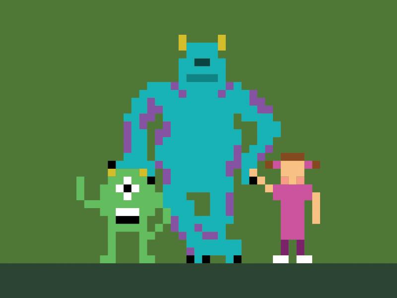 Monster Bits disney sully mike monsters inc monster 8-bit nintendo pixel